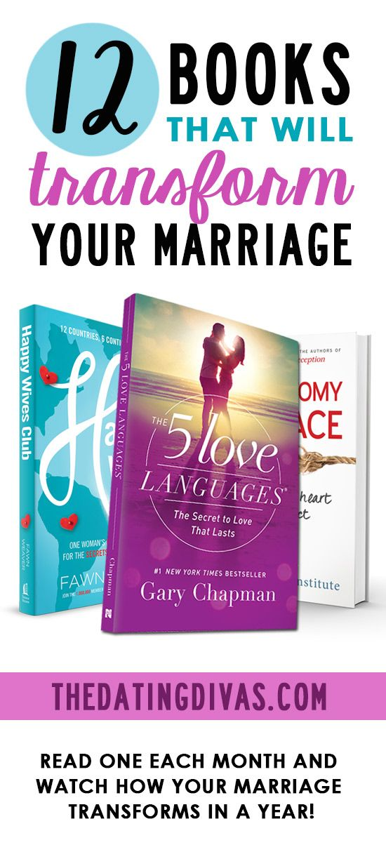 Top 12 Marriage Books! Read one every month and watch how your marriage transforms in a year. www.TheDatingDivas.com