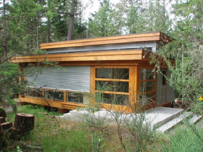 corrugated metal cabin