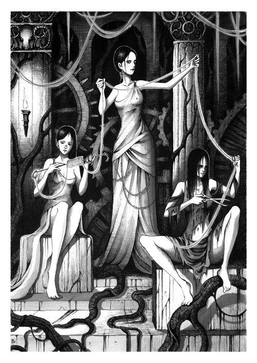 De drie schikgodinnen. Ze wonen in de ijzeren kamers in de onderwereld. Apollo voert hen dronken om Admetos te redden. Maar dan komt Hades binnen...
