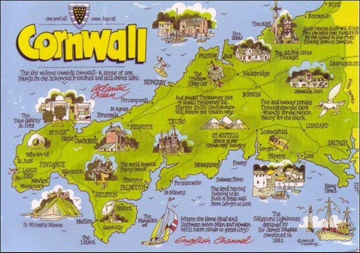 CORNWALL | Arthur Pickering: Illustrated map     ✫ღ⊰n