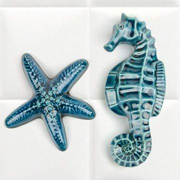 Ceramic Seahorse and Starfish in a brilliant turquoise blue. By renowned New Zealand ceramic artist, Bob Steiner.A gorgeous gift and perfect to hang in the bathroom.Seahorse measures 18 x 8cm / 7 x 3¼ inches.Starfish measures 13 x 13cm / 5 x 5 inches.