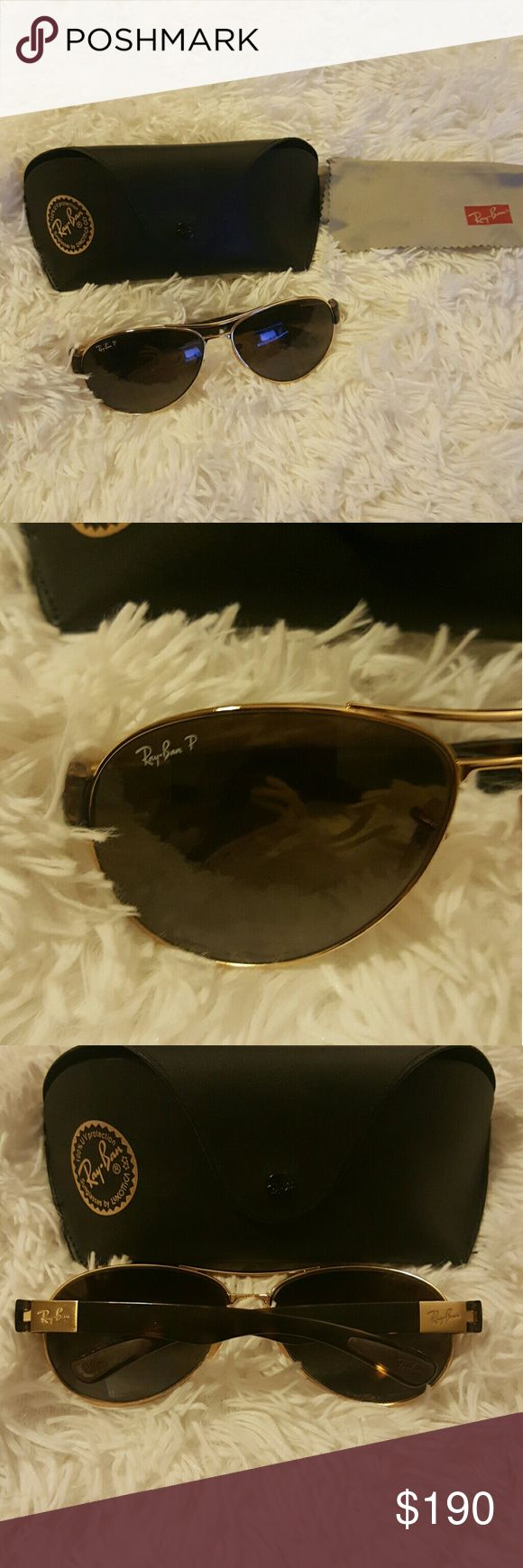 Authentic womens ray ban polarized sunglasses BRN Authentic womens ray ban polarized sunglasses Brown with Gold.. These beauties are waiting for a new owner..   Great condition.. no scrathes... Includes hard Case..  Trades...   Thank you for visiting my closet❤ Ray-Ban Accessories Sunglasses