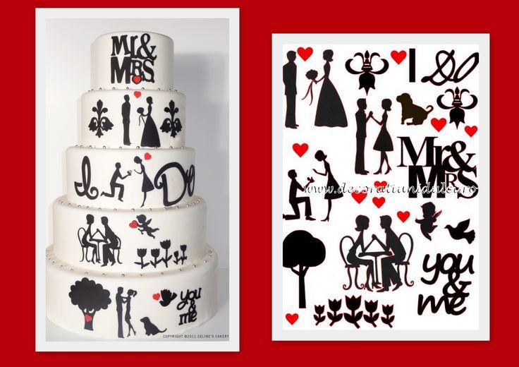 #Decupajpersonalizat in coli din pasta de zahar  https://decoratiunidulci.ro/imagini-comestibile-siluete  SURSA: http://www.cakecentral.com/gallery/i/1929573/the-love-story-wedding-cake