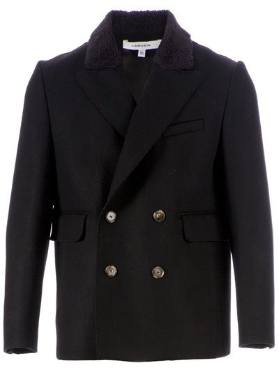 Black wool blend pea coat from Carven featuring a boxy fit at Farfetch.com