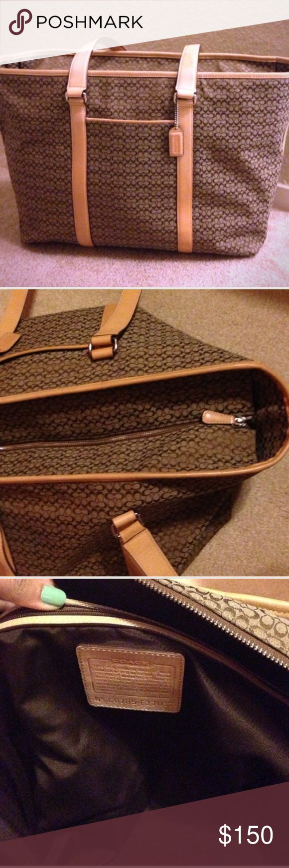 Giant coach travel or beach bag Very large bag, absolutely perfect for traveling or taking to the beach. A couple scuffs on the bottom but all pictures of flaws are included. Other than that, it's in great condition! Coach Bags Travel Bags