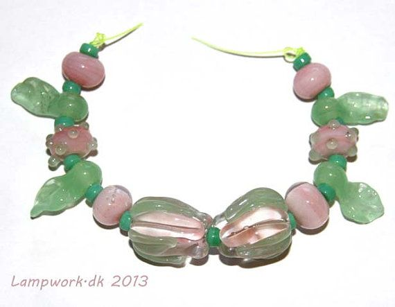 Handmade lampwork beads pink rose by LampworkDK on Etsy, $16.00