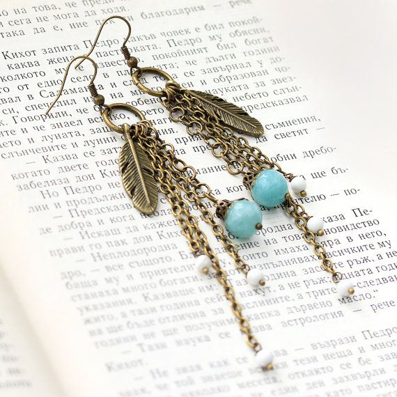 Long Boho Earrings Feather Earrings Dangle Boho by ELLEmenta