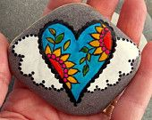 Fairy Tale Heart / Painted Stone / Sandi Pike Foundas / Cape Cod/ Beach Stone