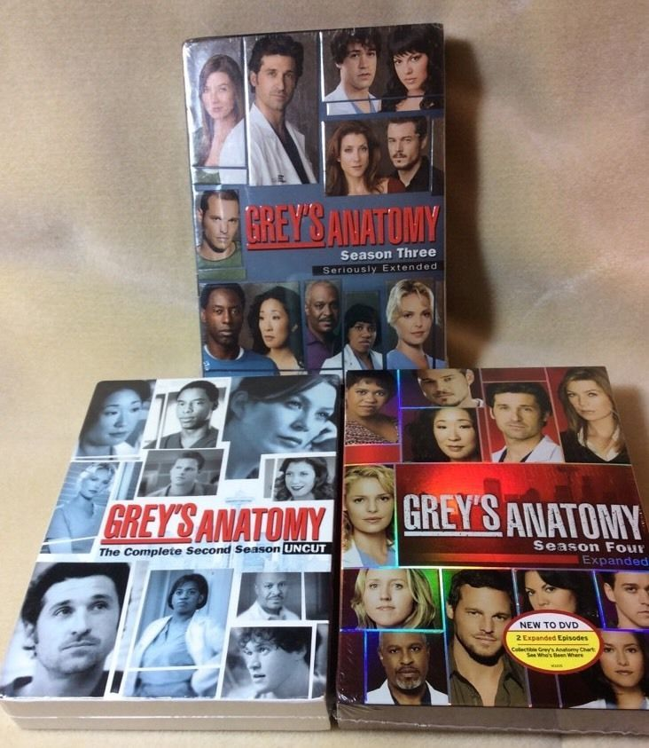 GREY'S ANATOMY DVD BOX SETS,SEASONS 2~3~4~UNCUT & EXTENDED WITH EXTRAS(NEW)