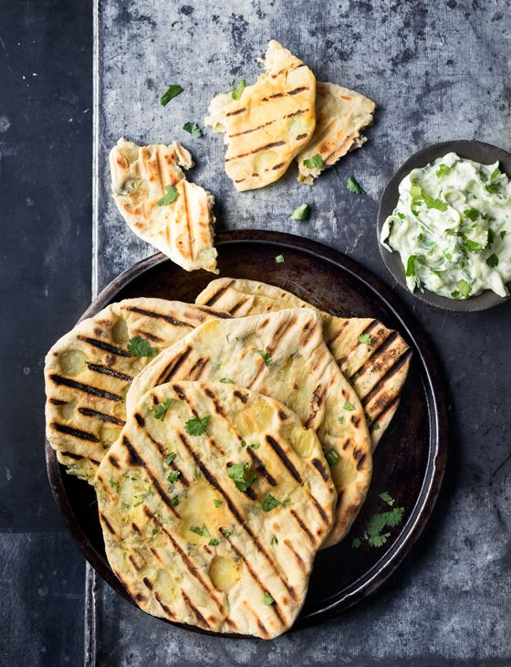 Barbecued Masala potato-filled flatbreads - an amazing side dish to any BBQ you're planning.