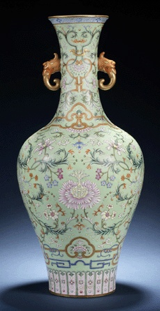 Turquoise imperial Chinese vase decorated with chrysanthemums.    Sold at auction for $ 14,457,580.  magnificent turquoise imperial vase decorated with