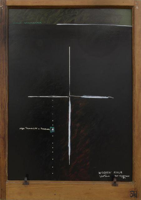 RALPH HOTERE New Zealand, (1931 – 2013) Black Window: Nga Tamariki o Parewa 1982 Acrylic on board in sash window frame 122.5 x 86 cm