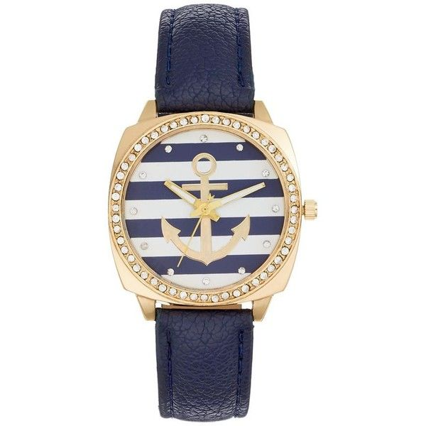 Women's Crystal Anchor Watch ($20) ❤ liked on Polyvore featuring jewelry, watches, blue, water resistant watches, blue charm, charm jewelry, blue jewelry and crystal jewelry