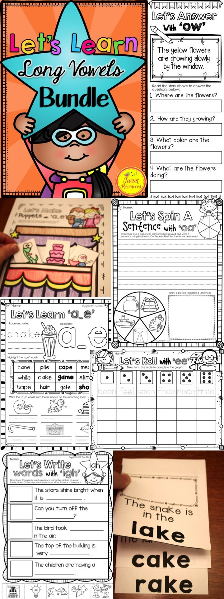 Teach long vowels with this easy to use fun and interactive printables collection! Over 350 pages of activities and printables are included that will provide a comprehensive program for teaching 19 long vowel combinations. $