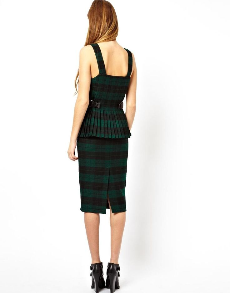 ASOS | ASOS Premium Pencil Dress With Kilt In Check at ASOS