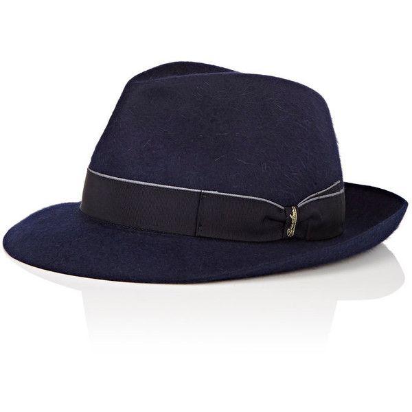 Borsalino Men's Alessandria Fedora ($239) ❤ liked on Polyvore featuring men's fashion, men's accessories, men's hats, navy, men's brimmed hats, mens wide brim fedora hats, mens fedora hats, mens hats and mens fedora