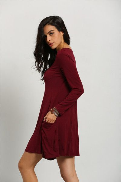 Fabric :Fabric is very stretchy Season :Fall Type :Dress Pattern Type :Plain Sleeve Length :Long Sleeve Color :Burgundy Dresses Length :Short Style :Casual Mate