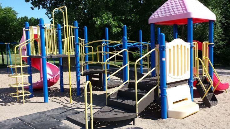 Brada Woods park. Slightly older equipment. Sand surface. Nice shade. No washrooms.
