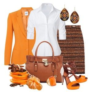С чем носить оранжевые босоножки: белая рубашка, коричневая сумка, оранжевый пиджак, кожаная сумка