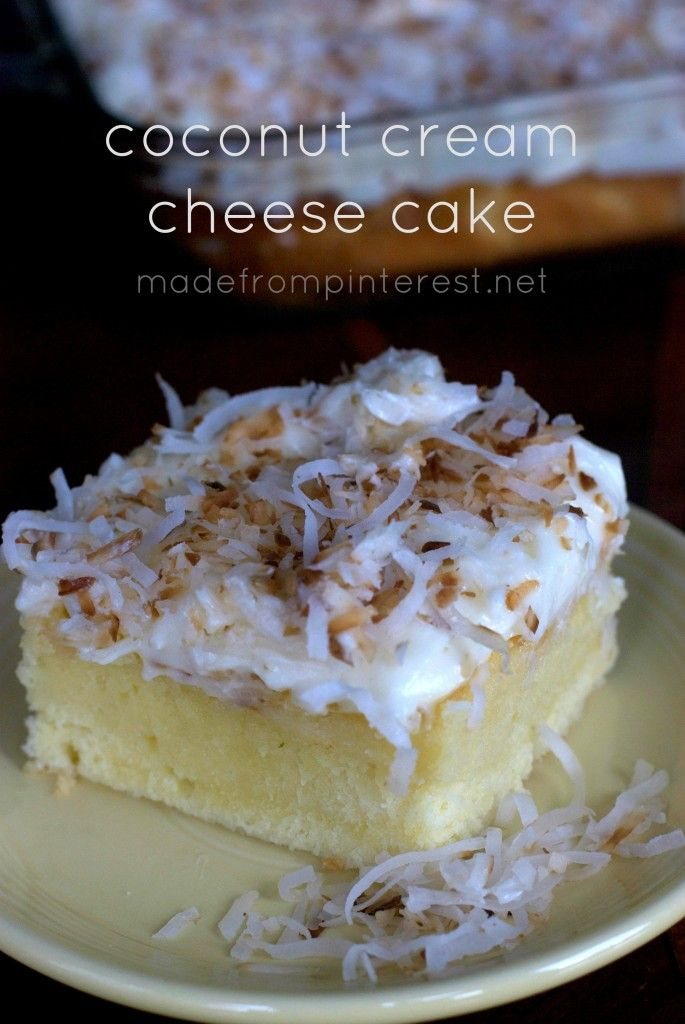 Decadent Coconut Cream Cheese Cake. This is a super moist, dense cake that is pure coconut heaven! The cream of coconut in it gives it a stronger coconut flavor. You don't want to miss getting this recipe.