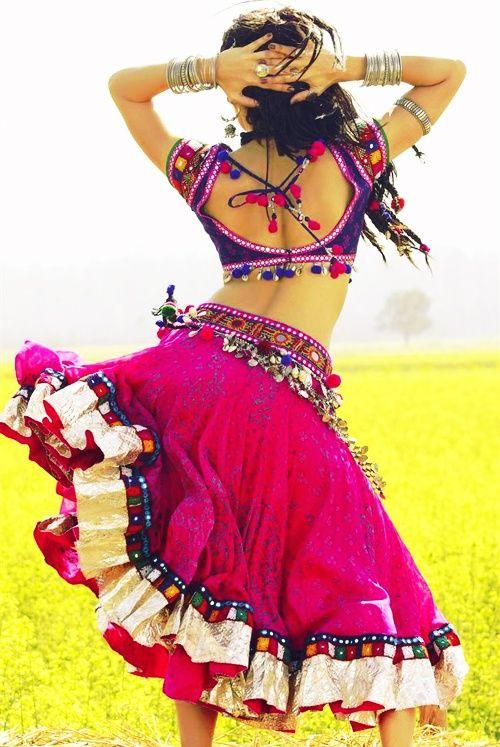 Jacqueline Fernandez in 2013 Film 'Ramaiya Vastavaiya' in western Indian Tribal, Ethnic Fashion inspired #Ghagra Choli and Silver Jewelry
