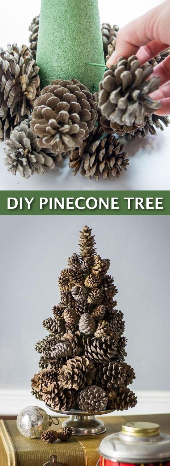 Easy DIY Cheap Christmas Decor– super easy pine cone tree craft! Lots of craft ideas for adults for the home, for fun, for gifts, to sell and more! Some of these would be perfect for Christmas or other holidays. A lot of awesome projects here! Listotic.com by alyson