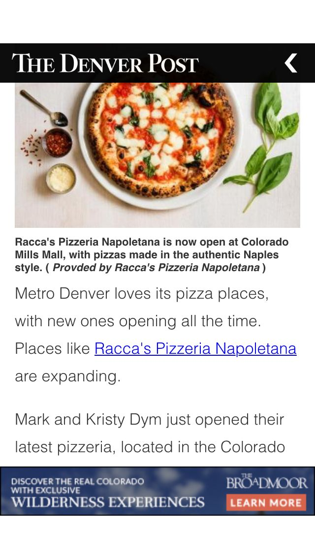 Racca's Pizza featured in Denver Post- we went there for a couples valentines dinner, the pizza was really good and the aosphere is nice