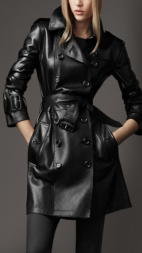 Black Long Leather Trench Coat