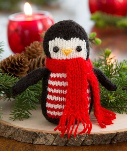 Cheerful Holiday Penguin Free Knitting Pattern from Red Heart Yarns