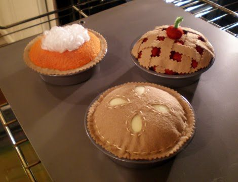 Felt pies! Make all the bits separate to make their own pie