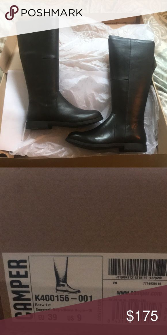 Brand new, never worn Camper boots! Size 9 Never worn, calf length camper boots. Beautiful leather and comfortable fit. Good for smaller calf sizes (didn't fit mine) Camper Shoes Heeled Boots