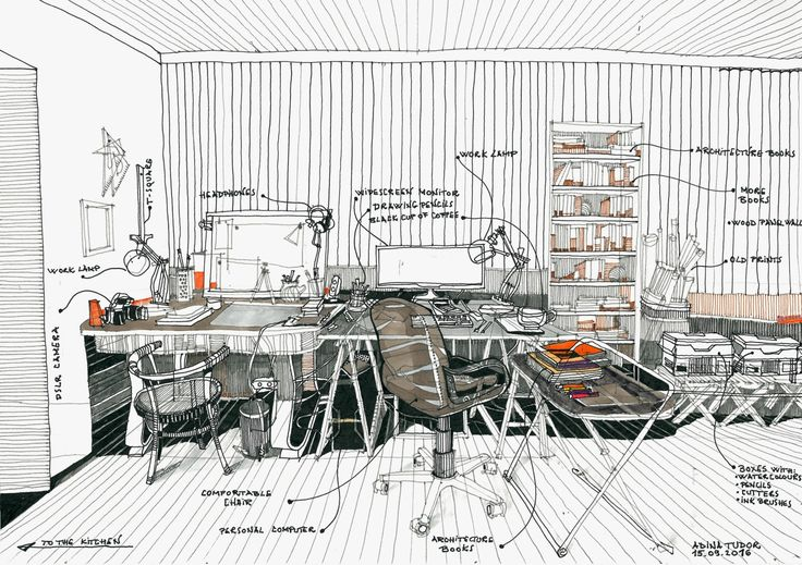Gallery of 42 Sketches, Drawings and Diagrams of Desks and Architecture Workspaces - 45