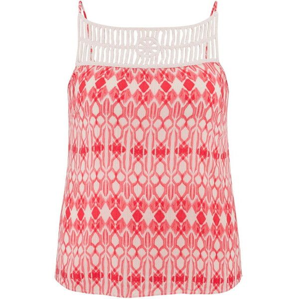 maurices Plus Size - Crochet Top Patterned Tank ($13) ❤ liked on Polyvore featuring tops, pink, plus size, women's plus size tops, layering tanks, layering tank tops, plus size crochet tops and plus size tanks