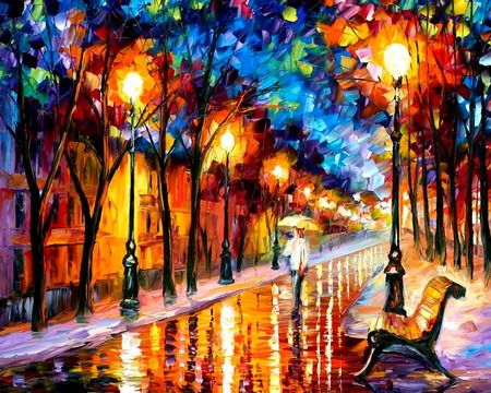 Leonid Afermov painting-love how he captures the beauty of a rainy night on the town!