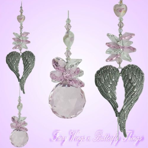 FWBT Angel wing CRYSTAL SUNCATCHER medium *handmade love prism baby valentines gift $20
