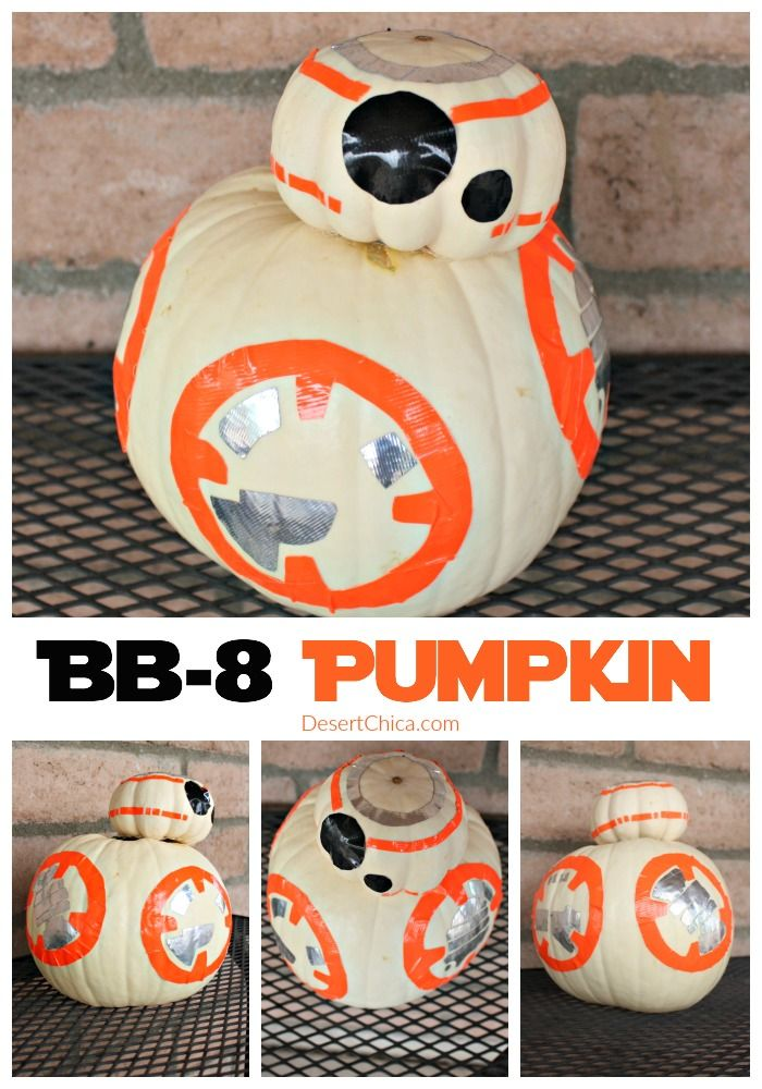 Easy Star Wars BB-8 Pumpkin, no carving is neccesary just duct tape and a glue gun.