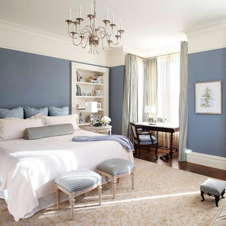 dormitorio blanco y azul grisceo
