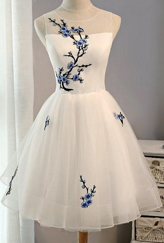 White Short Homecoming Dress with Embroidery, Knee Length Prom Dresses, Cute Formal Dresses