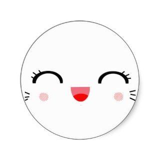 162701659 cute kawaii happy face smile girly round sticker be happy pinterest - Emoticone kawaii ...