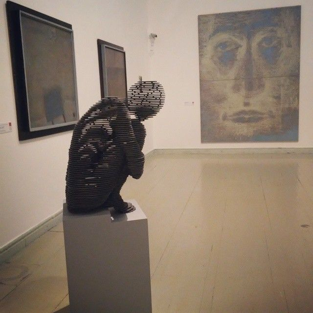 Majoros's sculpture, Kudor Duka's and Vali's paintings in Kusnthalle, Budapest, 2015