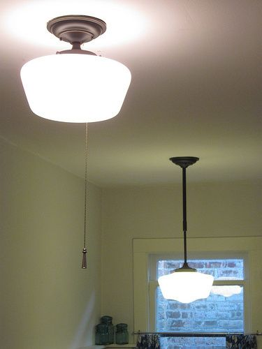 Adding a pull string to a light fixture where there is no wall switch.