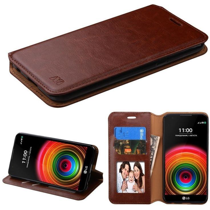 MYBAT Book-style Leather LG X Power Wallet Case - Brown