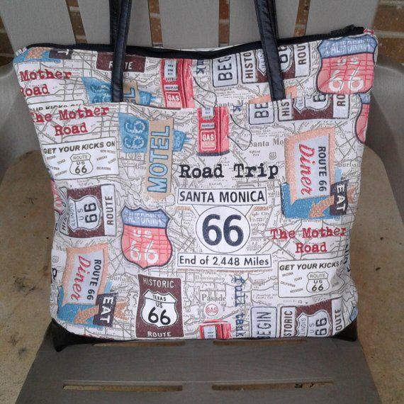 US 66 Reise-Einkaufstasche, 16 x 16 x 2 t, Weekender Tote, Geldbörsen und Taschen, Einkaufstasche, XLTote Bag, Travel Tote Bag, Umhängetasche, Canvas Tote Bag