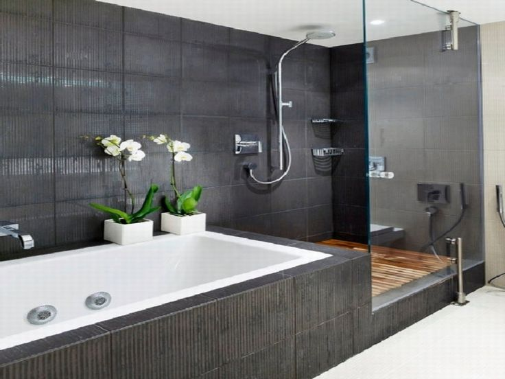 Inspiration Interior Contemporary Small Bathroom Ideas With Dark Grey Tiled Walls And White Porcelain Rectangular Shape Soaking Tubs Added Decorative Flower Vase Also Toughened Glass Shower Room Area, Contemporary Small Bathroom Design Ideas: Bathroom, Interior