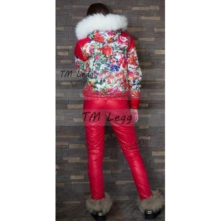 Женский зимний кастюм с белая куртка красные брюки