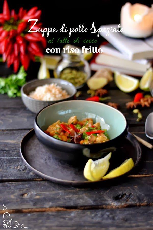Zuppa di pollo speziata al latte di cocco, con riso fritto