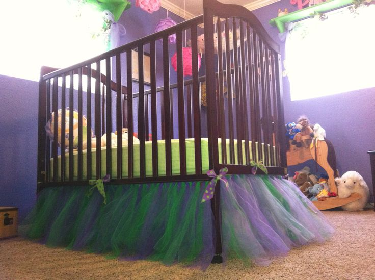 DIY tutu crib skirt. Just follow my instructions on how to make a tutu on my tutu pin; just make a tutu for each side and tie them together at the bottom of the crib.