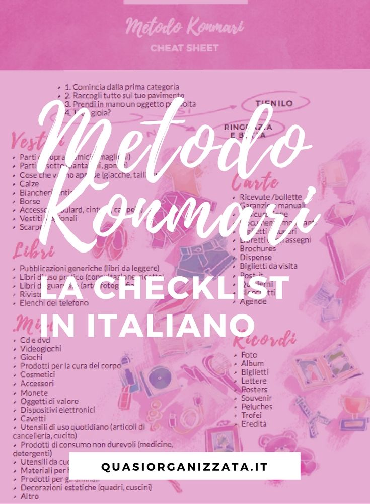 Marie Kondo un anno dopo - la checklist in italiano