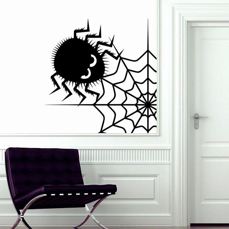 Halloween Wall Decal Spider in Web Home Kids Room Decoration Decor Sticker AM156 #Stickalz