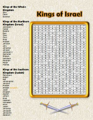 Kings Of Israel Full Color Bible Word Search